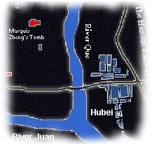 A location map of the burial site of Marquis Zheng