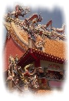 A picture of the roof of a temple in Singapore